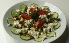 Salade met geitenkaas. Besteld bij Catering Service Twente.