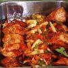 3 warmhoudbakken met vlees, kip en groentes. Besteld bij Catering Service Twente.
