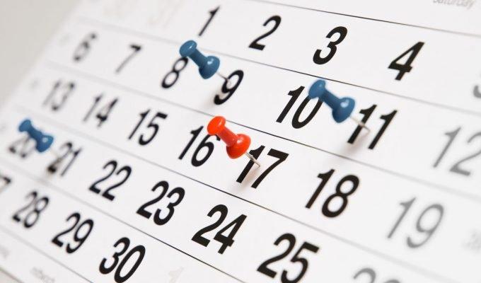 Kalender van maand met 30 dagen